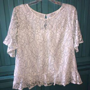 Women's lace overlay ruffled sleeve blouse